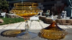 Rare Fab Vntg Amber Glass Twisted Stem Footed Covered Candy Dish Rigaree Italy