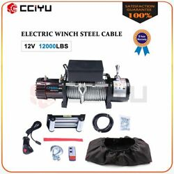 12000lbs 12v Electric Winch For Truck Trailer Pickup Suv Wireless Remote W/cover
