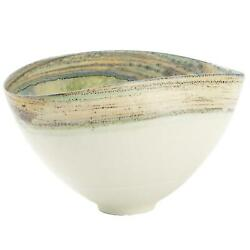 Modern Ivory Art Glass Decorative Bowl 19in Blue Green Mottled Colorful Abstract