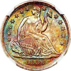 1838 H10c Ngc Ms66 Seated Half Dime Large Stars Pastel Patina And Mint Error