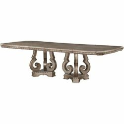 Acme Northville 112 Pedestal Dining Table In Antique Silver