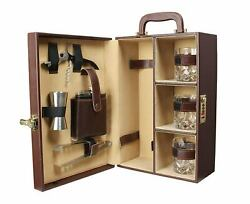 Indian New Travel Bar Set With Bottle Opener Handy Portable Leatherette
