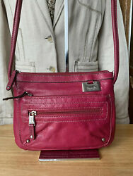 Tignanello Pink Leather Crossbody Style Bag With Silver Tone Hardware $34.99