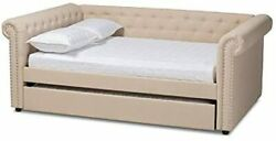 Baxton Studio Mabelle Beige Fabric Upholstered Queen Daybed With Trundle New