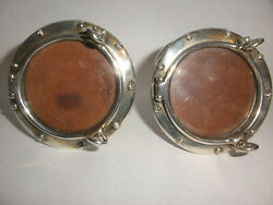 Rare Pair And Co Sterling Silver Porthole Picture Frames 2.25 For 1.5