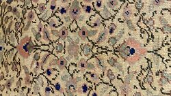 Early 1930and039s Antique Wool Pile Natural Dye Fine Hereke Area Rug 6and0395andtimes9and0398
