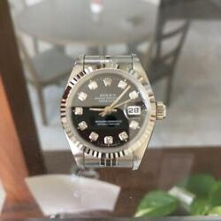ROLEX Datejust 10 Point Black Face Women Wrist Watch Free Shipping from JAPAN