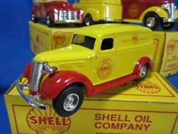Shell 1938 Chevy Panel Van Yellow Red Coinbank Die-cast Oil Company Vtg Rare