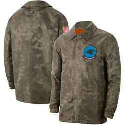 Carolina Panthers Football Jacket Salute To Service Sideline Coat Breasted Top