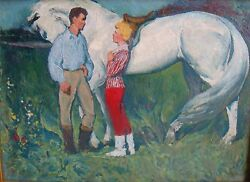 Original Oil On Canvas Paintings Tryst 1970 Signed 72x100cm Ussr