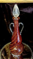 Rare Glass Venetian Decanter Double Handle W Rigaree Signed Murano Italy Wow