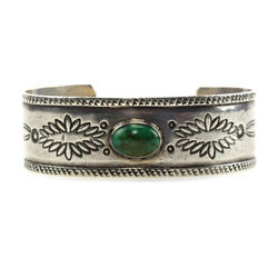 C. 1920s Navajo Turquoise And Silver Bracelet Size 6.5