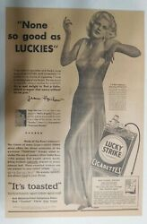 Lucky Strike Ad Hollywood Star Jean Harlow From 1931 Size 12 X 18 Inches