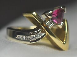 18k Solid Yellow And White Gold Ring .84ctw Pink Tourmaline And Vvs Diamonds 13.4g