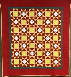 Amazing Pa C 1890-1900 Touching Stars Quilt Antique Sailboats Turkey Red