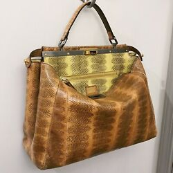 RARE Fendi Peekaboo Snakeskin Orange Tan Large Carryall Satchel Tote Bag $7K+