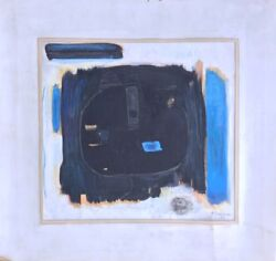 Original Mixed Media Collage On Cardboard Blue By Pierre Grimm