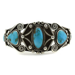 C. 1940s Navajo Turquoise And Silver Bracelet Size 6.5