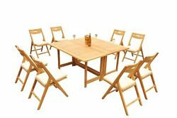 9pc Grade-a Teak Dining Set 60 Square Rectangle Table Surfliner Reclining Chair