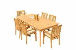 7pc Grade-a Teak Dining Set 83 Rectangle Table 6 Hari Stacking Arm Chairs