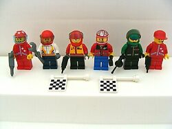 Lego Racing Team Mixed Minifigure Lot Of 6 With Tools And Flags