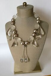 Vintage Chunky Lucite Bauble Silvertone Beaded Statement Necklace Hong Kong