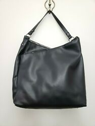 Criss Cross Black Faux Leather Large Hobo Double Zipper 3 Compartment $19.97