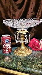 Vintage 10d Crystal Glass Bowl On Ornate Gold Plate Base Cut Crystals Beautiful