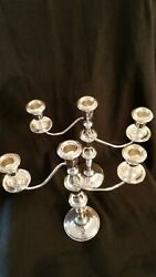 Sterling Candelabras By Empire Pair 13 3/8 Tall By 11 5/8 Wide