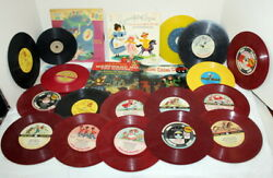 21 Peter Pan And Guild Rca Disney 45 Rpm Kiddie Records - 1940's Colored Vinyl