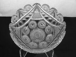 American Brilliant Cut Glass 1-1 Rated Byzantine Pattern Bowl By Meriden