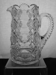 American Brilliant Cut Glass Hawkes Queens Pattern Cider Pitcher Exactly Shown
