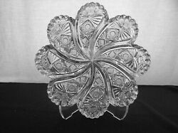 American Brilliant Cut Glass Signed Hawkes Kohinoor Blowout Swirl Low Bowl