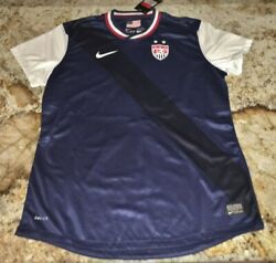 Nike Us Usa National Team Authentic Navy Blue S/s Soccer Jersey New Womens Sz L