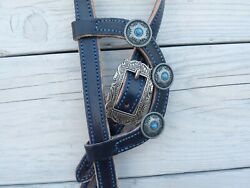 West 74 Blue Stitched Harness Leather 3/4 Antique Nickel Turquoise Headstall