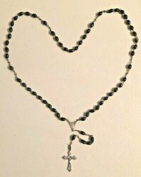Antique 1920s Italy Rosary Religious Cross Necklace With Black Resin Beads - A