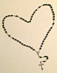 Antique 1920s Italy Rosary Religious Cross Necklace With Black Resin Beads - B