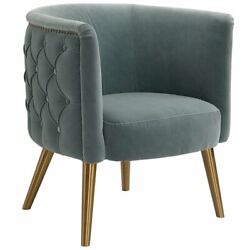 Uttermost Haider Accent Chair In Slate Blue And Brushed Brass