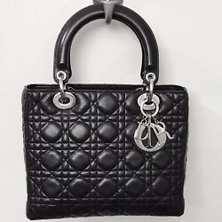 Dior Black Silver Lady Bag Quilted Cannage Lambskin Leather Small Tote $5K+