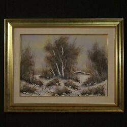 Painting Framework Oil On Canvas With Frame Landscape Signed Antique Style 900