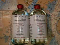 Dt Nitric 70 Acid, Tw0 32oz, Glass Bottles High Purity Hno3, Gold Refining