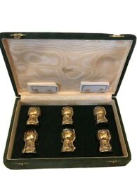 Rare Vintage Mid Century Cork Place Setting Holders Set. Gold/silver X 6