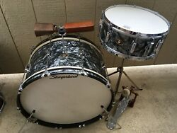 1958 Slingerland Black Diamond Pearl Bass And Snare Collector Quality