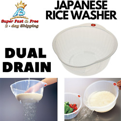 Dual Strainer Rice Washer Vegetable Cleaning Container Basket Kitchen Colander