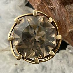14k Yellow Gold Smoky Quartz Cocktail Ring Size 6.5 For Women