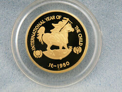 1980 U.a.e. Proof Gold 750 Dirhams Uc Coin - The International Year Of The Child