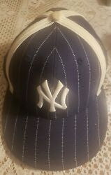 Vintage New Era New York Yankees Denim Style Blue Striped 59fifty Fitted 7 1/4