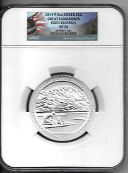 2014 P Great Sand Dunes 5 Oz Silver 25c Sp 70 First Releases Ngc Flag Label