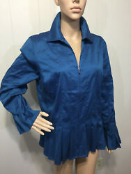 Beautiful Coldwater Creek Womens Cotton Stretch Zip Front Teal Pleated Blouse Lg