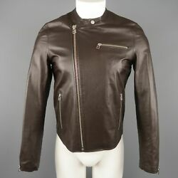 Shipley And Halmos S Brown Leather Motocycle Biker Jacket